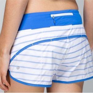 "Lululemon Speed Shorts 2.5"" Deauville Blue Stripe"